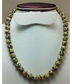 73 Gram Dalmatian Jasper Rosary Bead Size 10 MM (Length 19 Inch)
