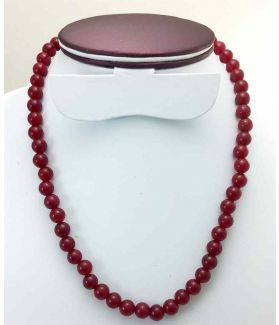 42 Gram Dark Red Jade Rosary Bead Size 8 MM (Length 19 Inch)