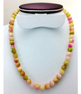230 CT Pink & Green Jade Rosary Bead Size 8 MM (Length 19 Inch)