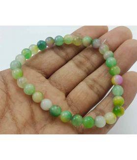 Multi Color Round Jade Bracelet 10 Gram (Length 8 Inch)