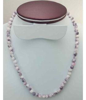Grey & White Color Round Jade Rosary 27 Gram (Length 19 Inch)