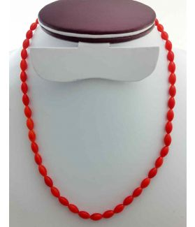 Orangish Red Coral Rosary 16 Gram (Length 19 Inch)