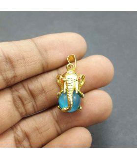 Sky Blue Ganesha Pendent, 18 x 12 mm
