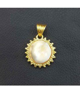 Gold Gomati chakra pendant, 22 x 28 mm