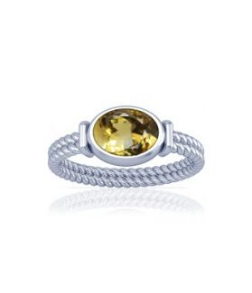 Natural Citrine Sterling Silver Ring - K11