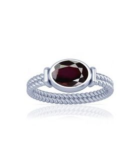 Natural Garnet Sterling Silver Ring - K11