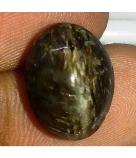 6.77 Carat Black Kanak Khet Chrysoberyl Cat's Eye 13.88 x 10.70 x 7.66 mm