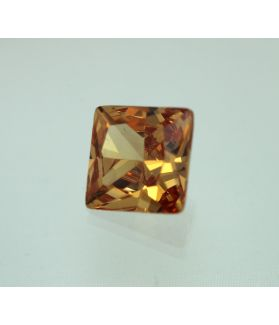 6 Carats Golden Brown Cubic Zircon Square shape 9x9 MM