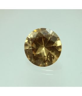 6 Carats Golden Brown Cubic Zircon Round shape 9 mm