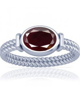 African Ruby Sterling Silver Ring - K11