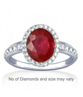 Unheated Untreated Natural Guinea Ruby and Diamond Sterling Silver Ring - K19
