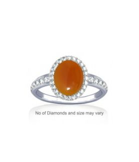 Natural Carnelian With Diamond Sterling Silver Ring - K19