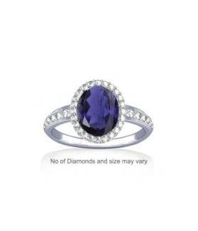 Natural Iolite with Diamond Sterling Silver Ring - K19