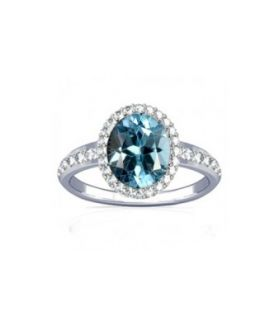 Blue Topaz With Diamond Sterling Silver Ring - K19