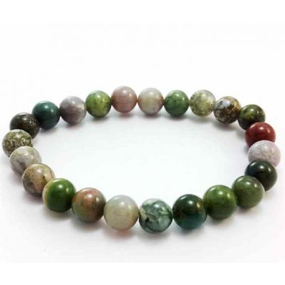 27 Gram INDIAN AGATE Bracelet BEAD SIZE 10 MM (LENGTH 8 INCH)