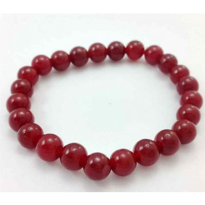 17 Gram  Dark Red Jade Bracelet Bead Size 8 MM (Length 8 Inch)