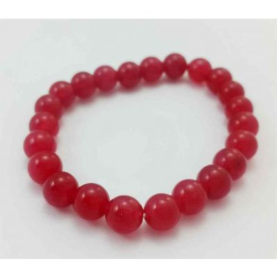 17 Gram CT Pinkish Red Jade Bracelet Bead Size 8 MM (Length 8 Inch)