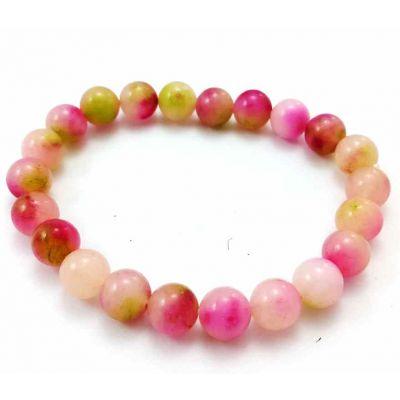 18 Gram  Pink Jade Bracelet Bead Size 8 MM (Length 8 Inch)