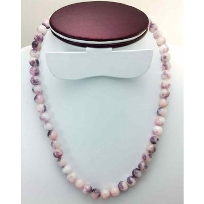 46 Gram Purple Jade Rosary Bead Size 8 MM (Length 19 Inch)