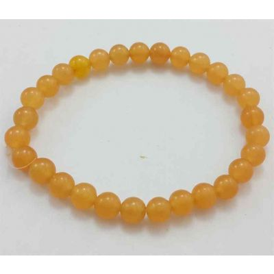 10 Gram Orange Jade Bracelet Bead Size 6 MM (Length 8 Inch)