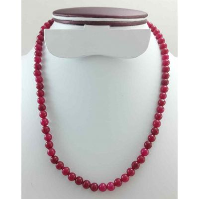 28 Gram Pinkish Red Jade Rosary Bead Size 6 MM (Length 19 Inch)