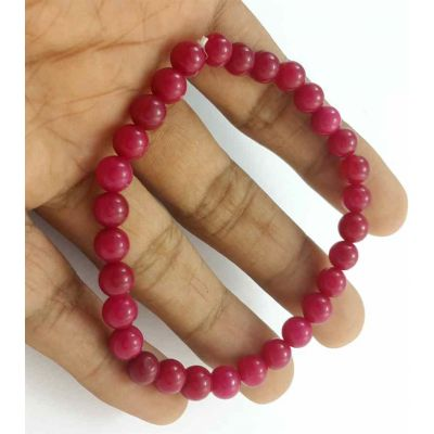 12 Gram Pinkish Red Jade Bracelet Bead Size 6 MM (Length 8 Inch)