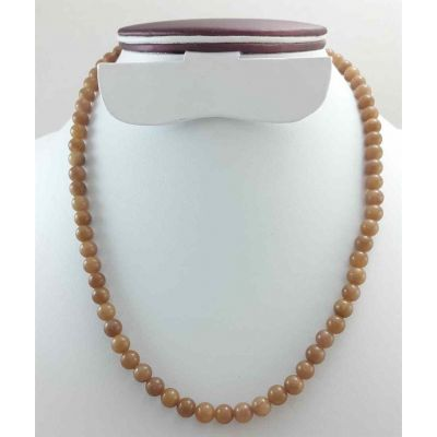 28 Gram Light Brown Jade Rosary Bead Size 6 MM (Length 19 Inch)