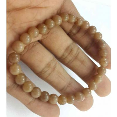 10 Gram Light Brown Jade Bracelet Bead Size 6 MM (Length 8 Inch)