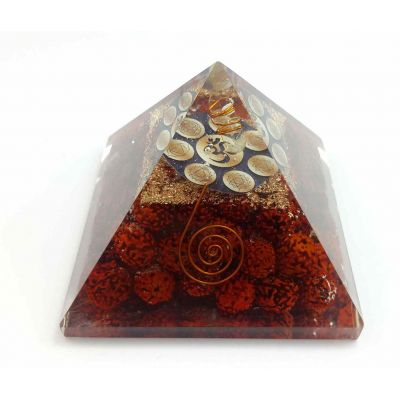 Om Rudraksha Copper Coil Pyramid 80 to 65 mm