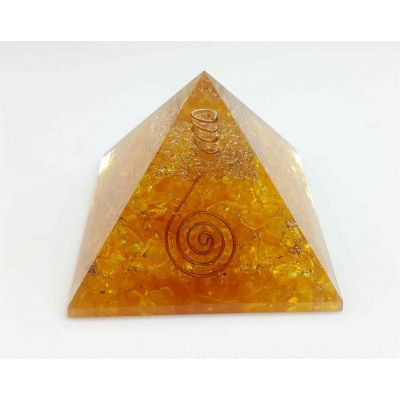 Crystal Quartz Orgone Copper Coil Pyramid  56 to 74 mm