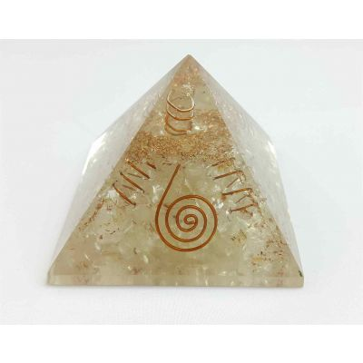 Crystal Quartz Orgone Copper Coil Pyramid  56 to 73 mm
