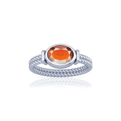 African Hessonite Sterling Silver Ring - K11