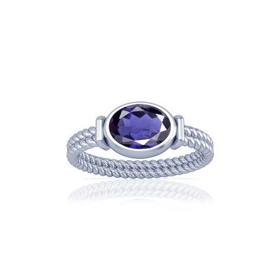 Natural Iolite Sterling Silver Ring - K11