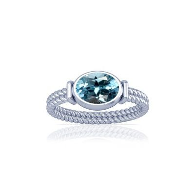 Blue Topaz Sterling Silver Ring - K11