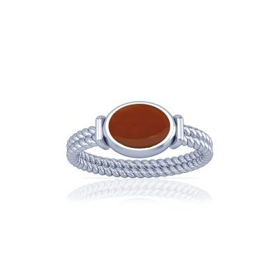 Natural Carnelian Sterling Silver Ring - K11