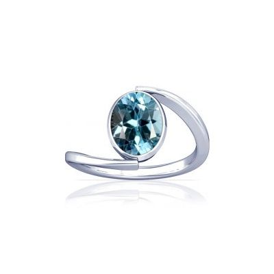 Blue Topaz Sterling Silver Ring - K6