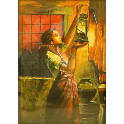 Lady with lamp 24 x 30 in