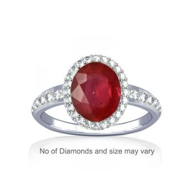 Non Heated Natural Mozambique Ruby and Dazzling Diamond Sterling Silver Ring - K19