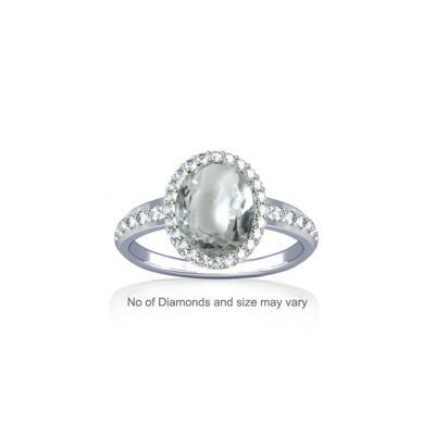 Sparkling White Zircon with Diamond Sterling Silver Ring - K19