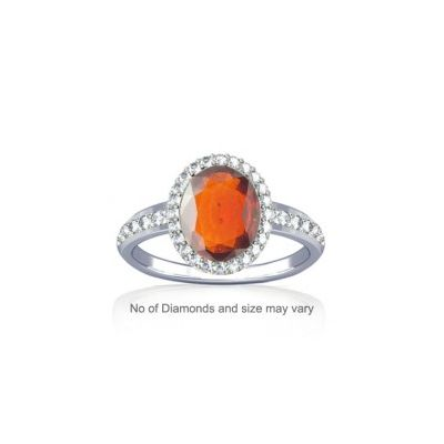 African Hessonite with Dazzling Diamond Sterling Silver Ring - K19