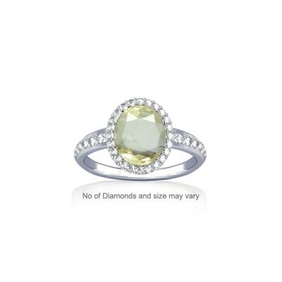 African Yellow Sapphire and Diamond Sterling Silver Ring - K19