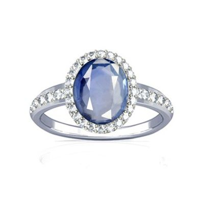 African Blue Sapphire and Diamond Sterling Silver Ring - K19
