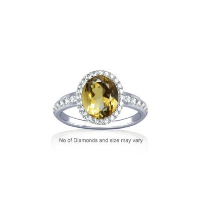 Natural Citrine With Diamond Sterling Silver Ring - K19