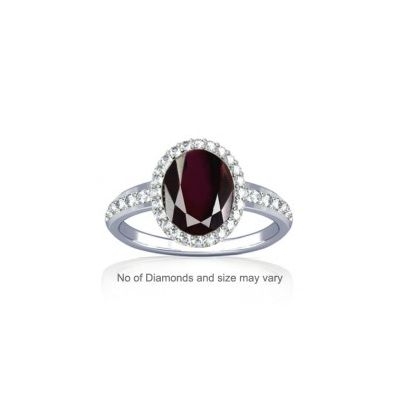 Natural Garnet With Dazzling Diamond Sterling Silver Ring - K19