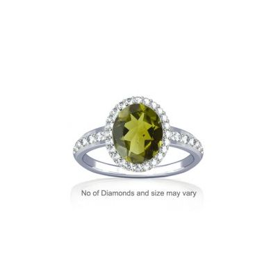 Peridot With Dazzling Diamond Sterling Silver Ring - K19