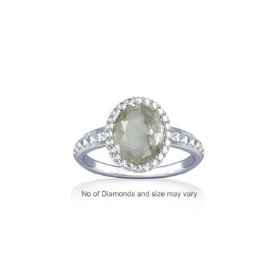 White Quartz With Diamond Sterling Silver Ring - K19